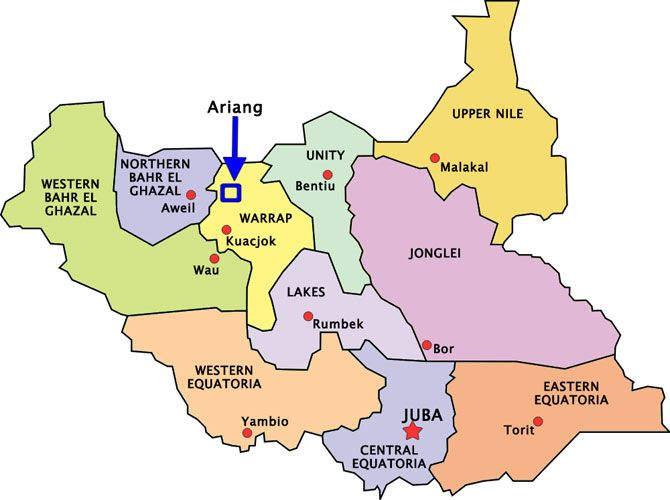 Map of Warrap state South Sudan Andrew Africa Cake Pinterest