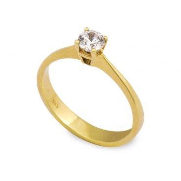 Ένα κομψό μονόπετρο δαχτυλίδι από χρυσό Κ14 με ζιργκόν  0b7e1f2ba74