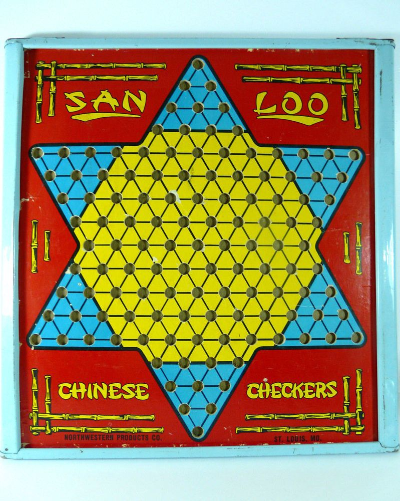 Vintage San Loo Chinese Checkers Board Game Turquoise Blue Tin Frame ...
