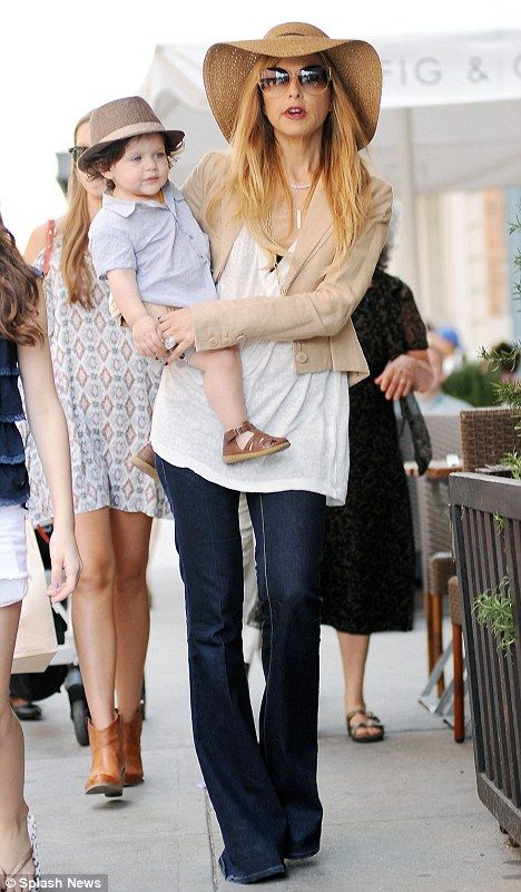 Fun day out: Rachel Zoe and her son Skyler took a day trip to The Meatpacking District in New York