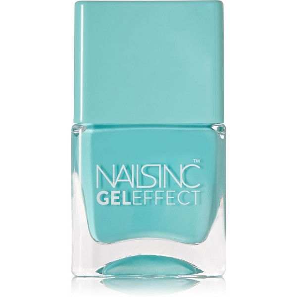 Nails inc Gel Effect Nail Polish - Queens Gardens (£12) ❤ liked on Polyvore featuring beauty products, nail care, nail polish, nails, fillers, makeup, beauty product, teal, gel nail color and nails inc.