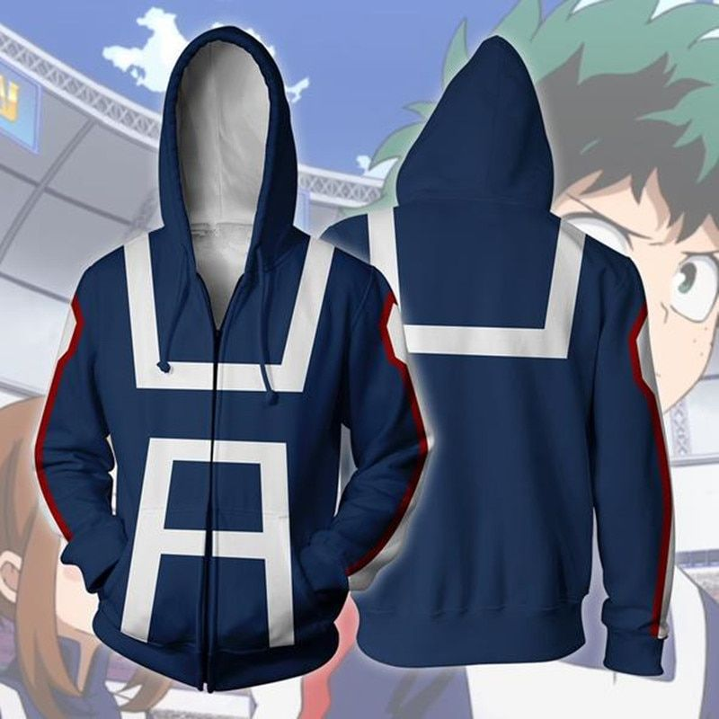 Anime Print My Hero Academia Women Hoodies Outerwear Jacket Casual Sweatshirts
