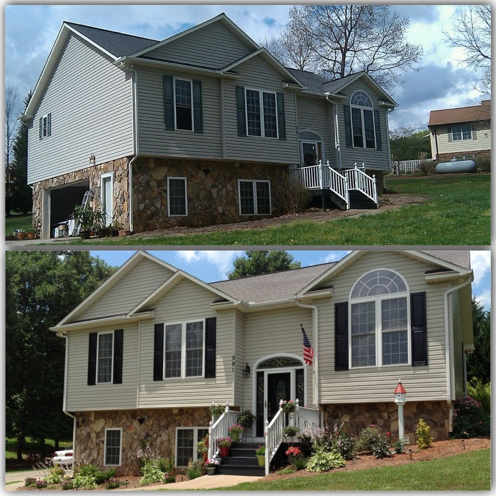 Garage Door Landscaping Ideas: Used Krylon For Plastic To Paint The Shutters. They Were A