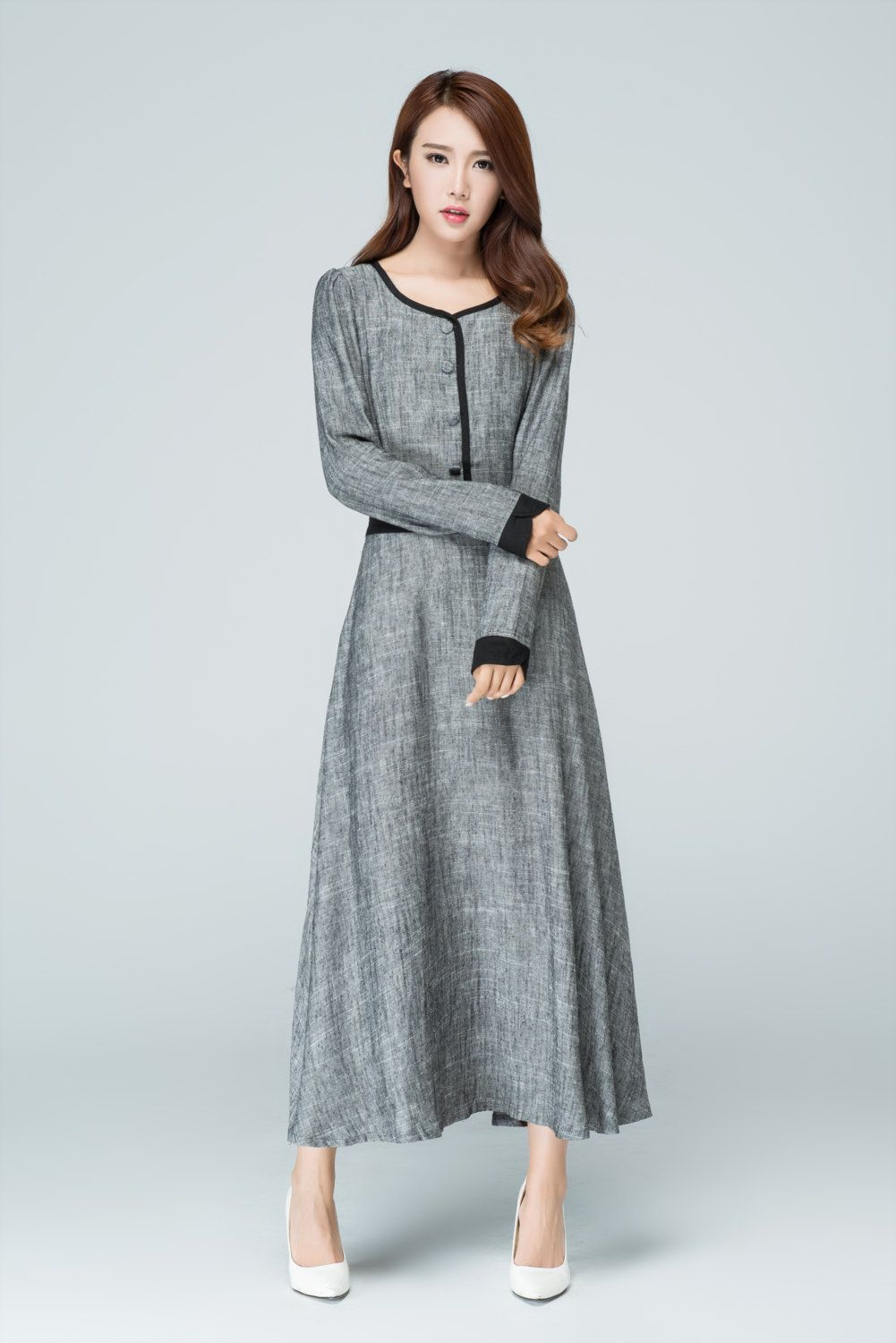 Grey Dresslinen Dressmaxi Dressevening Dressfit And Flare Elegant Dresses For Women Long Sleeve Dresses Fall Women S Evening Dresses