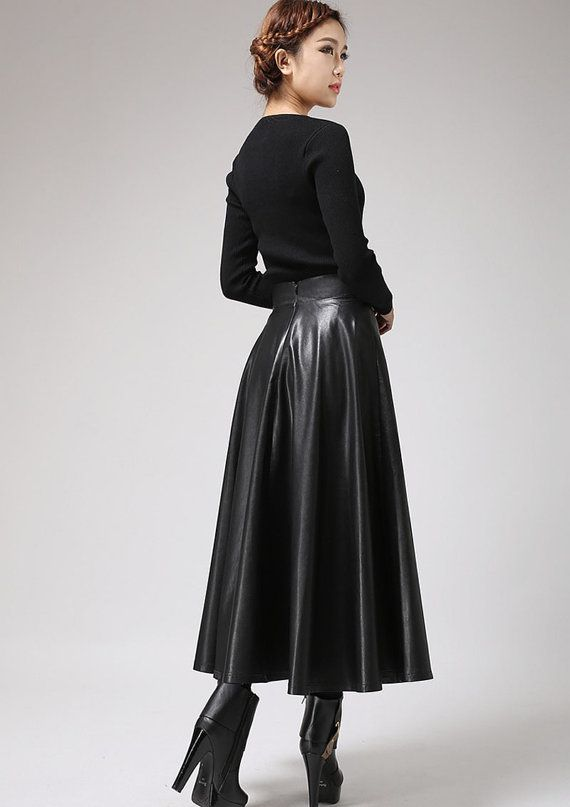 b1ae86feba Black faux leather skirt Classic style maxi skirt women PU Maxi Skirt  Style, Sexy Skirt