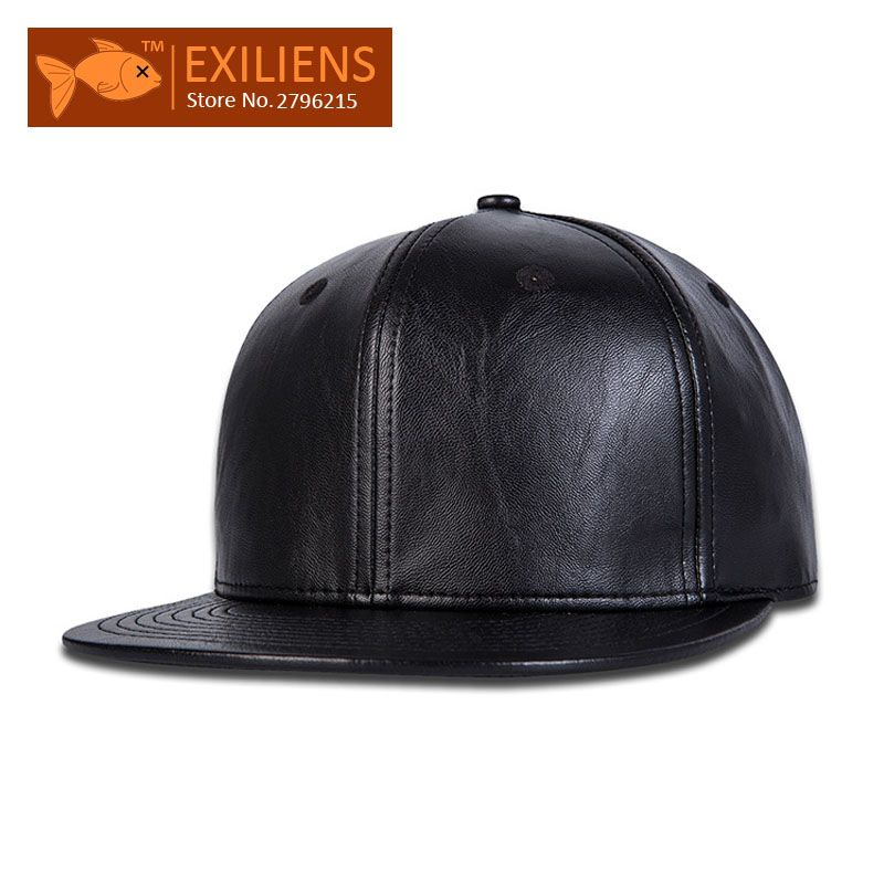 7ab47029fd8  EXILIENS  2017 Fashion Brand Baseball Cap Leather Snapback Caps Black  Solid Hip-hop Gorro Chapeau Snap Back Hats For Men Women