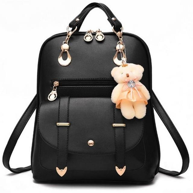 2b181d70112c 2017 New Casual Girls Backpack PU Leather 8 Colors Fashion Women Backpack  School Travel Bag With Bear Doll For Teenagers Girls