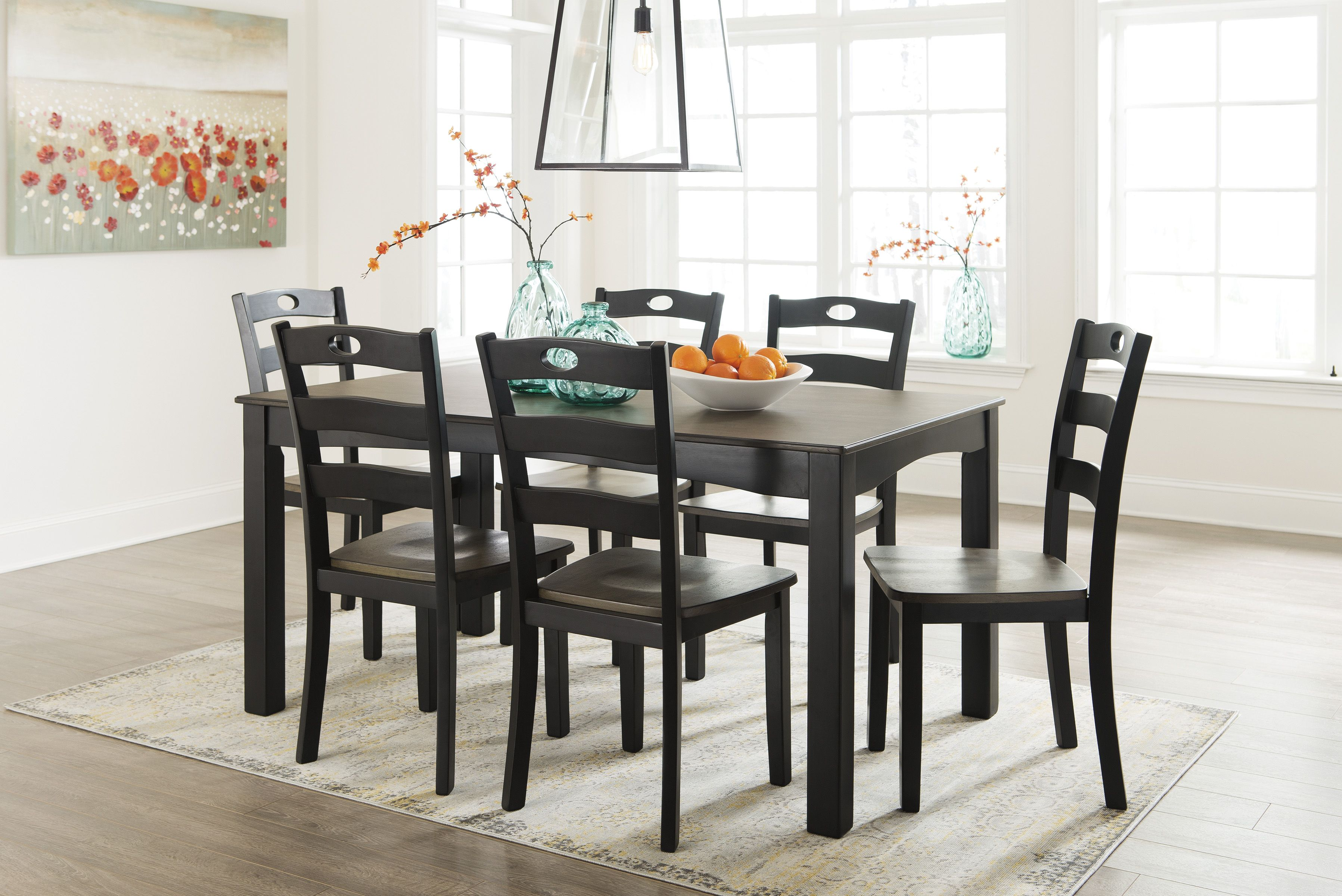 Ashley D338 Froshburg Dining Room Table And 6 Chairs Best Furniture Black Dining Room Black Dining Room Table Dining Room Table Set