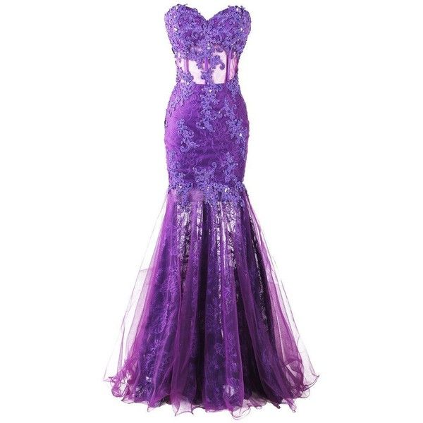 Dresstore Women's Long Mermaid Lace Prom Dress Sweetheart Sheer... ($127) ❤ liked on Polyvore featuring dresses, gowns, purple gown, long evening gowns, lace dress, long lace gown and long gowns