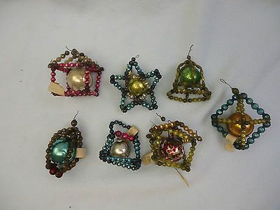 Vintage Glass Christmas Ornament Lot 7 Wired Mercury Beads Japan 3D Strung Wired | eBay