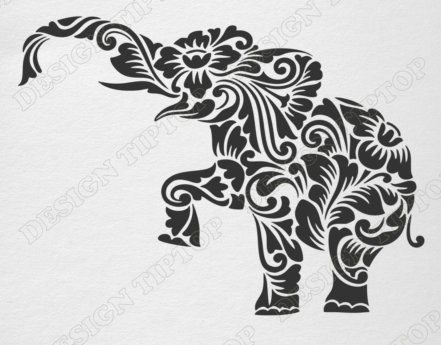 Flower elephant SVG, DXF, cut file, elephant zentangle, elephant ...