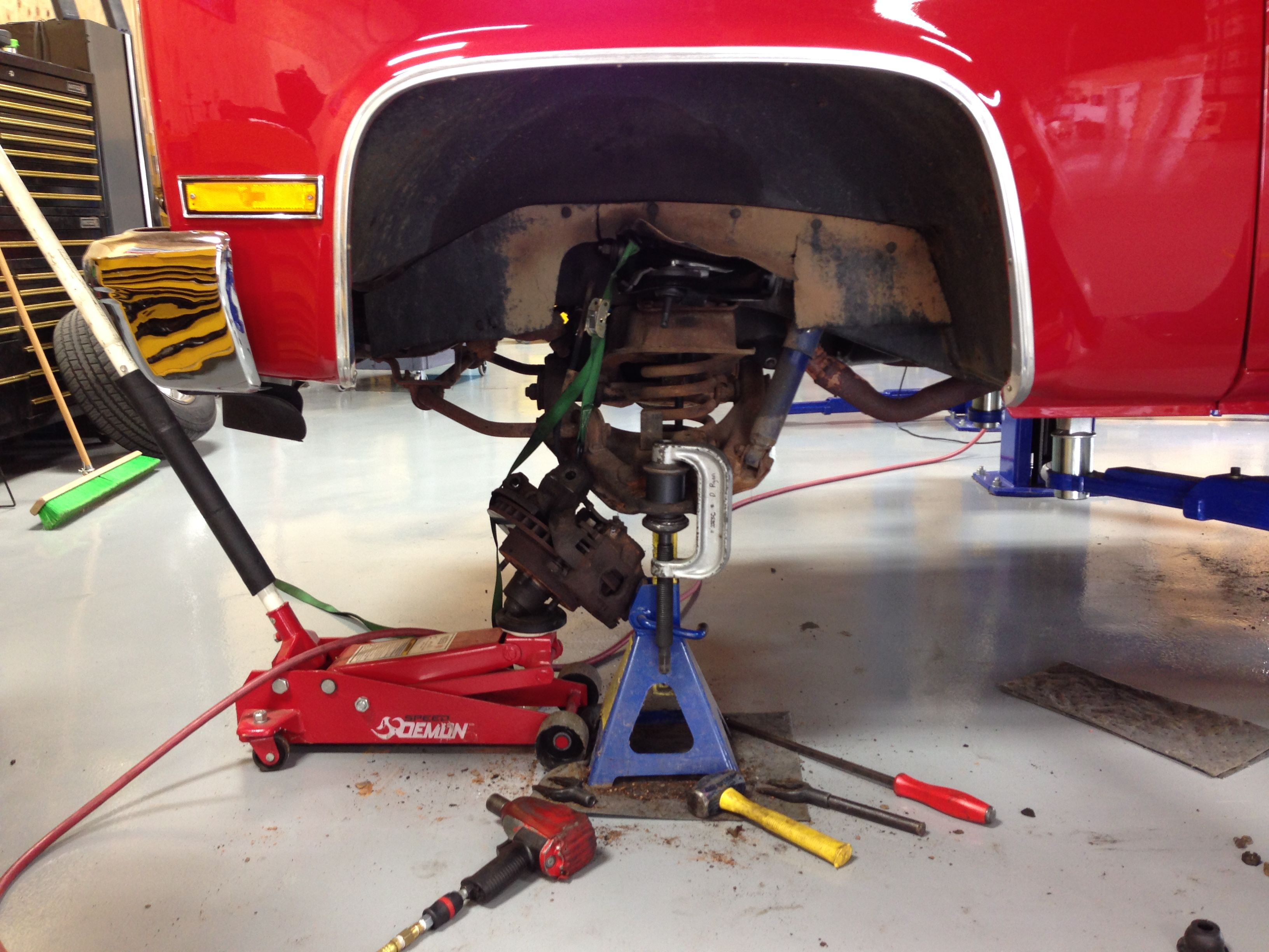 Here We Are Replacing Lower Ball Joints On A 1987 Chevy Silverado We Used The Blue Jack Stand To Hold Up The 1987 Chevy Silverado Automotive Shops Automotive
