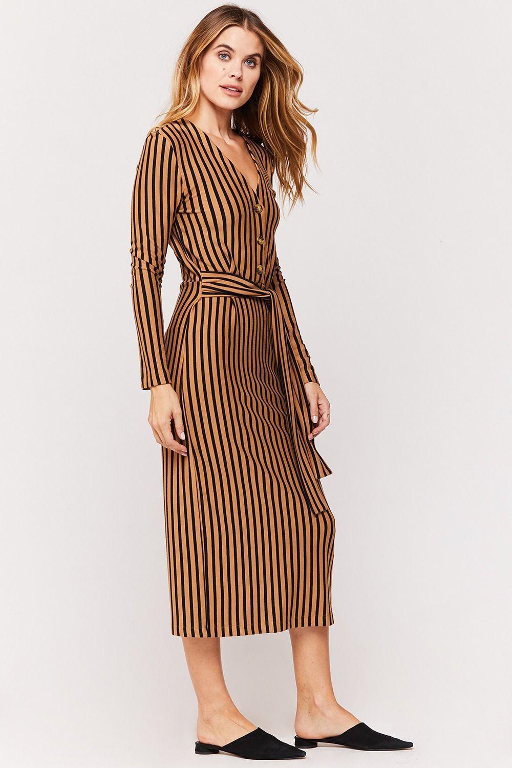 Lucille Tan Black Stripe Tie Front Midi Dress Midi Dress Dresses Striped Tie [ 1499 x 1000 Pixel ]