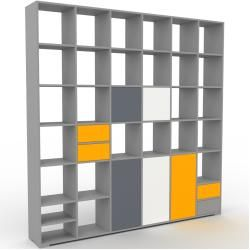 Photo of Gray wall unit – individual designer shelf wall: drawers in yellow & doors in anthracite – high quality