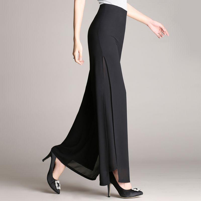 9a27d17b93dbe Women Ladies Vintage Loose High Waist Long Trousers Chiffon Side Split  Casual Palazzo Plus size Wide Leg Pants pantalones  Affiliate