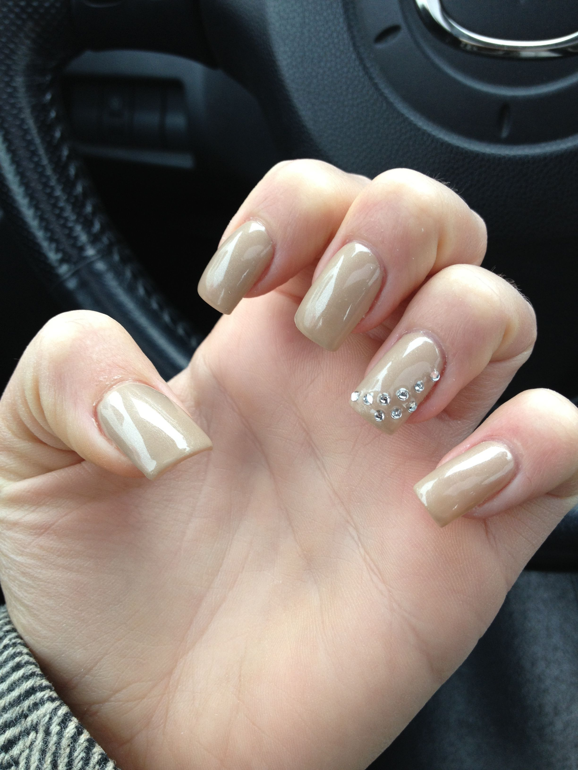 Current Nails Nude With Diamond Studs Nails Pinterest Nails