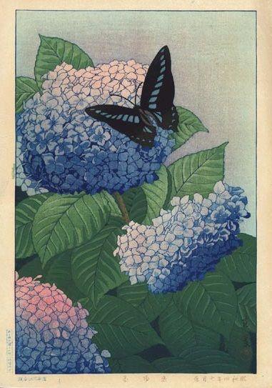 Taisui, Inuzuka (act. 1920s) Butterfly and Hydrangea