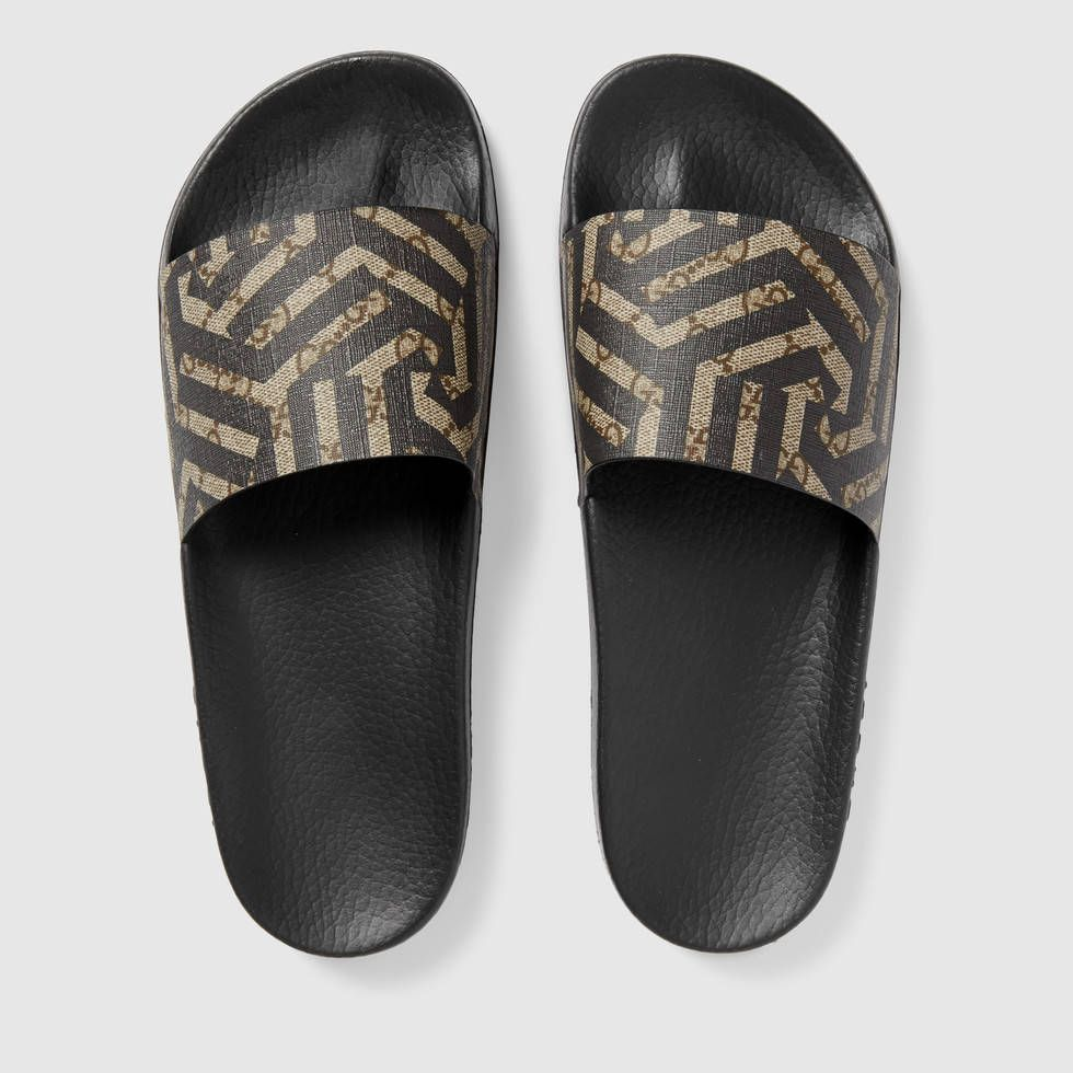 29a910c88bf  295 GUCCI SLIDES GG Caliendo Sandal SOLD BY GUCCI - affiliate - Slip-on  sandal in GG Supreme canvas with Caleido print.Beige ebony GG Supreme canvas  with ...