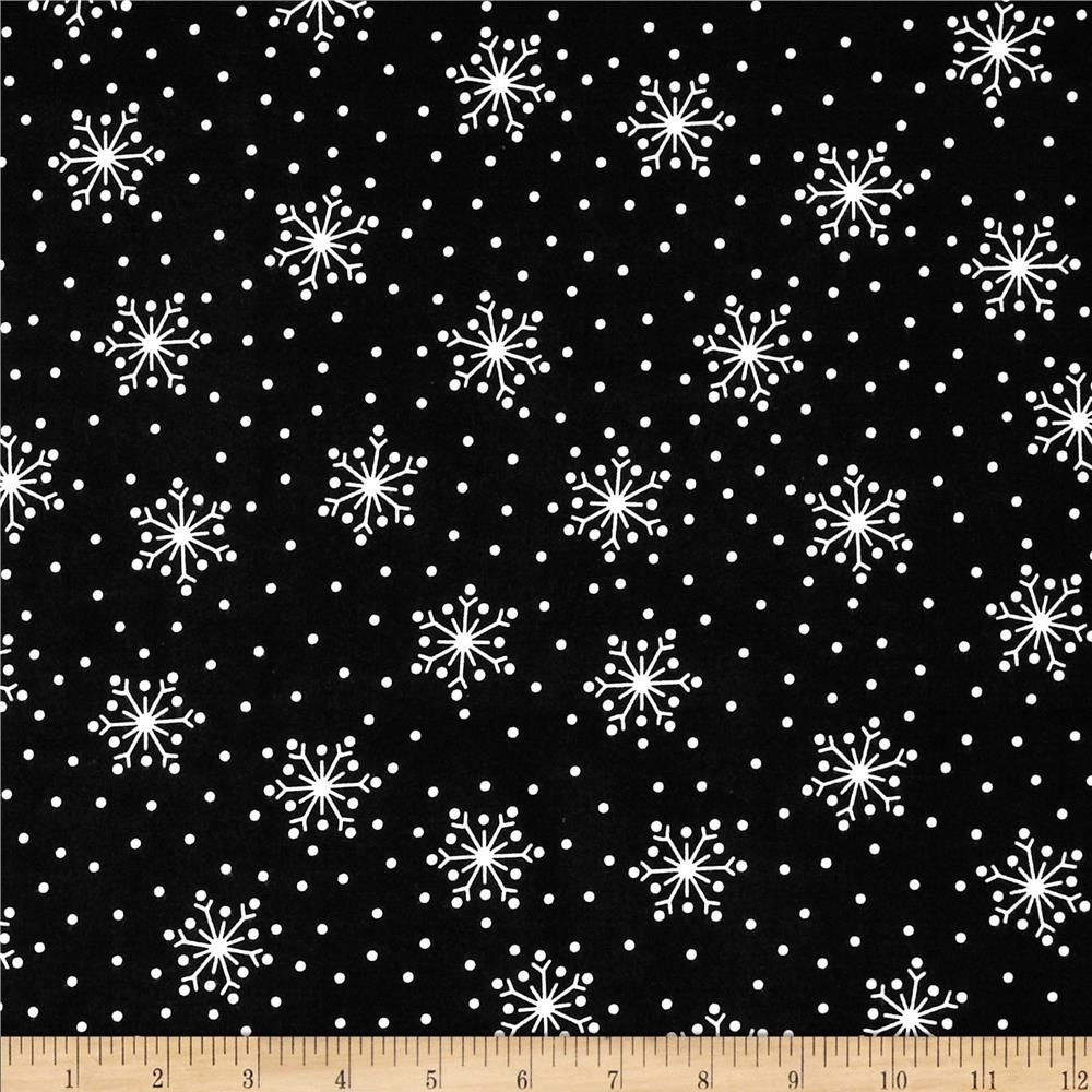 Red flannel fabric  Crazy For Christmas Flannel Snowflake Black  flanel fabric