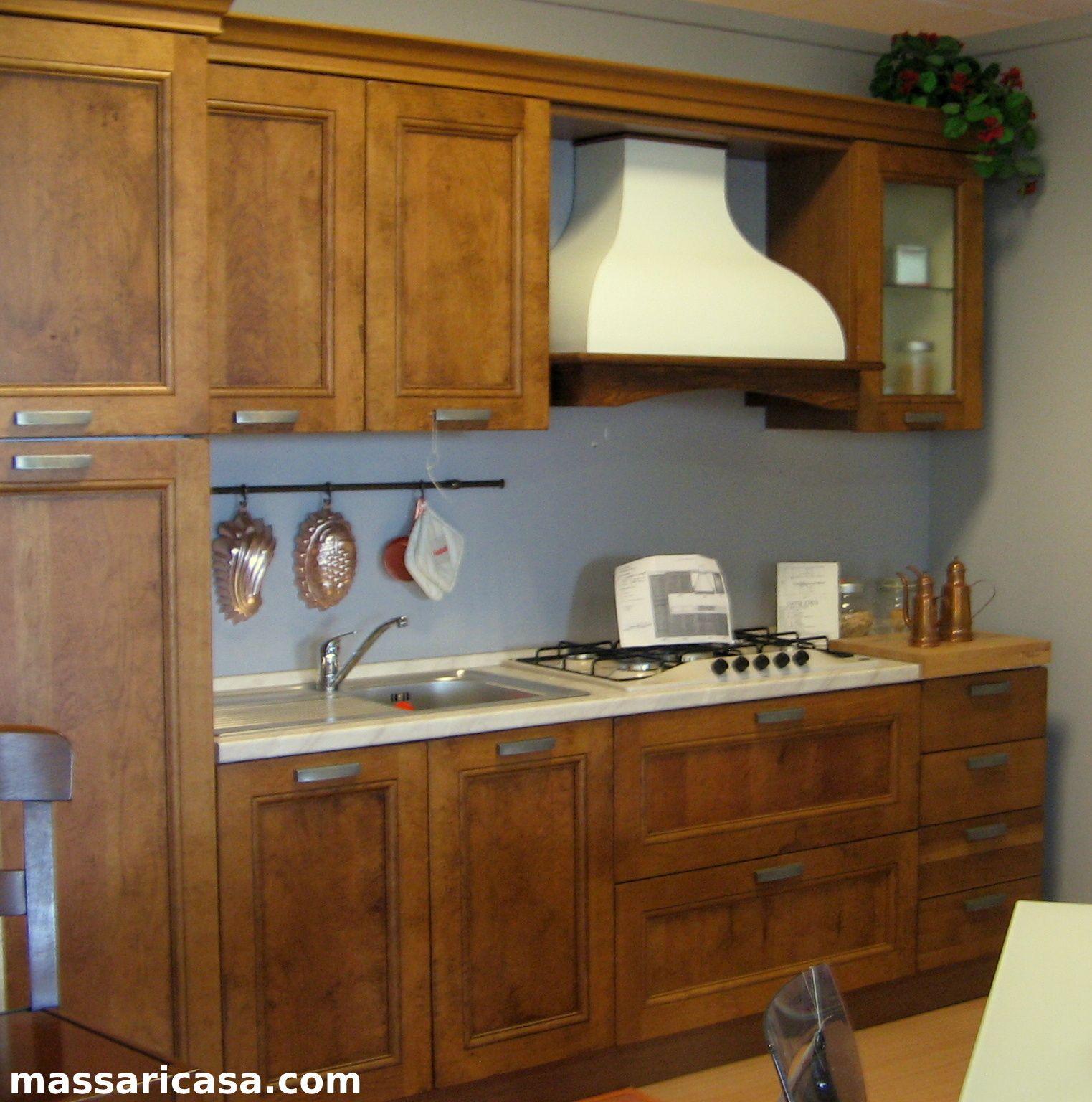 Cucina Legno Erika In Massello Di Rovere Invecchiato Misura 2 80