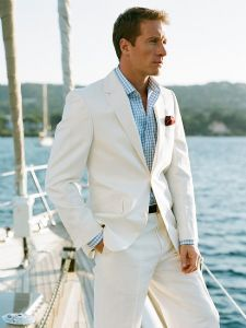 White Linen Suit For Nautical Or Beach Wedding Beach Wedding