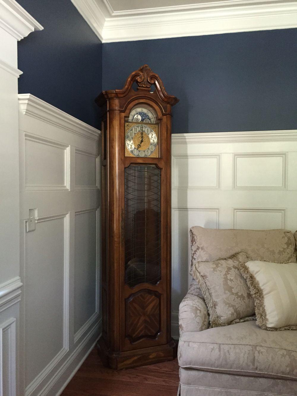 Benjamin moore van deusen blue with white dove trim dining room in