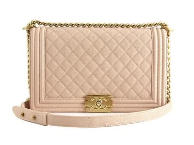 3bef2752b080 BAG, CHANEL, Boy Bag, Nude, beige pink quilted caviar leather, details in  yellow metal, 28x18x8cm, hologram 23569118, original box.