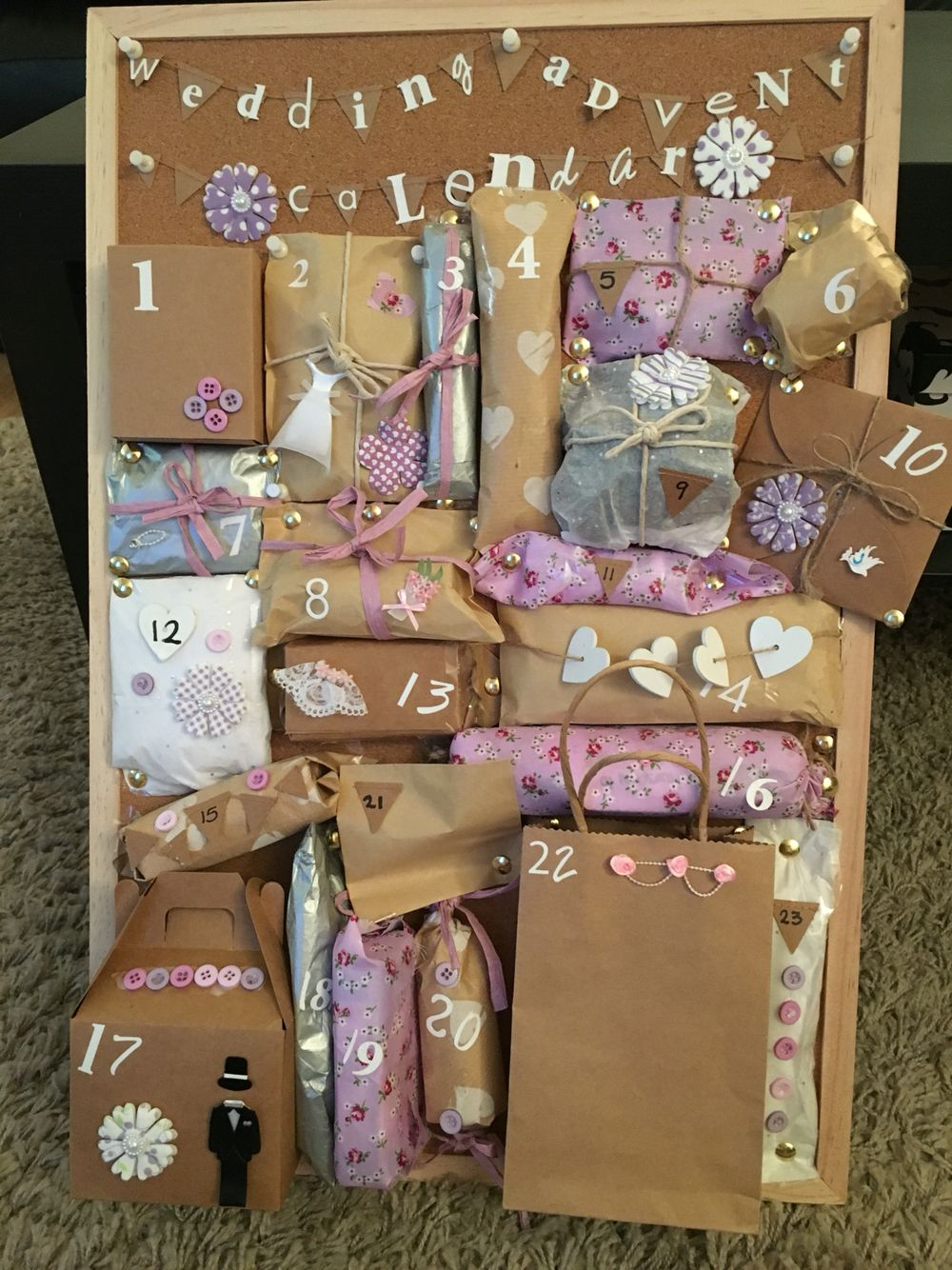 Advent Calendar Ideas Wedding : Made this wedding advent calendar for my best friend who