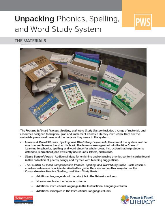 Unpacking Phonics, Spelling, and Word Study System F\P Phonics - order form in word