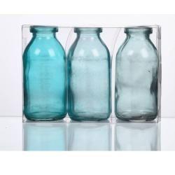 Photo of 3-pack bottle vases Bottle H. 10cm D. 5cm blue turquoise glass Sandra Rich Sandra Rich