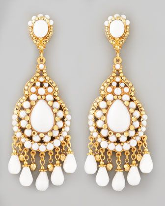 Beaded Chandelier Clip Earrings White By Jose Maria Barrera At Neiman Marcus