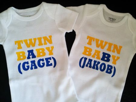 Twin Baby A And B Onesies With Their Names Made With