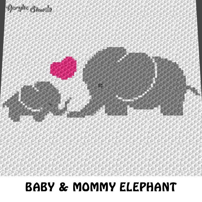 Baby Elephant And Mommy Heart Crochet Graphgan Blanket Pattern C2c
