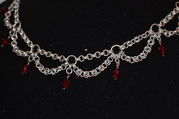 Chainmaille Necklace with Crystals by TheCobanEffect on Etsy, $50.00