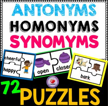 This pack of puzzles gives students practice with matching synonyms, antonyms and homonyms and pictures. It includes three sets: a set of 24 synonym puzzles, a set of 24 antonym puzzles and a set of 24 homonym puzzles. These puzzles are a great addition to your literacy center.