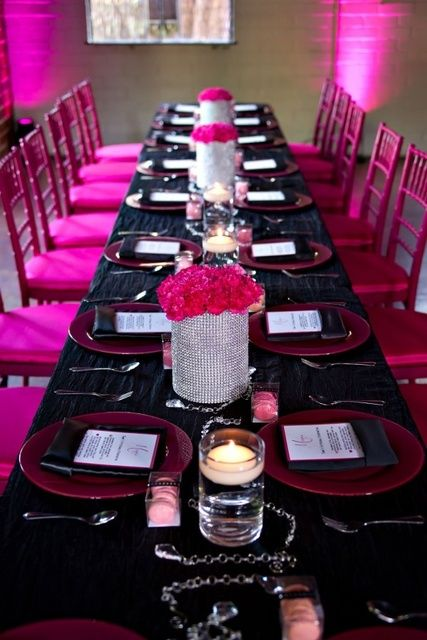 Hot Pink Black White And Sparkles Birthday Party Ideas Photo 9 Of 16 Hot Pink Birthday Party Pink Birthday Party Black Party Decorations