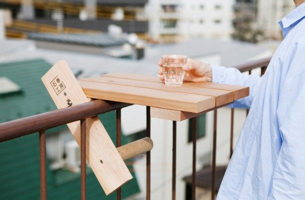 Nice Solution Small Wooden Coffee Table On Balcony Railing
