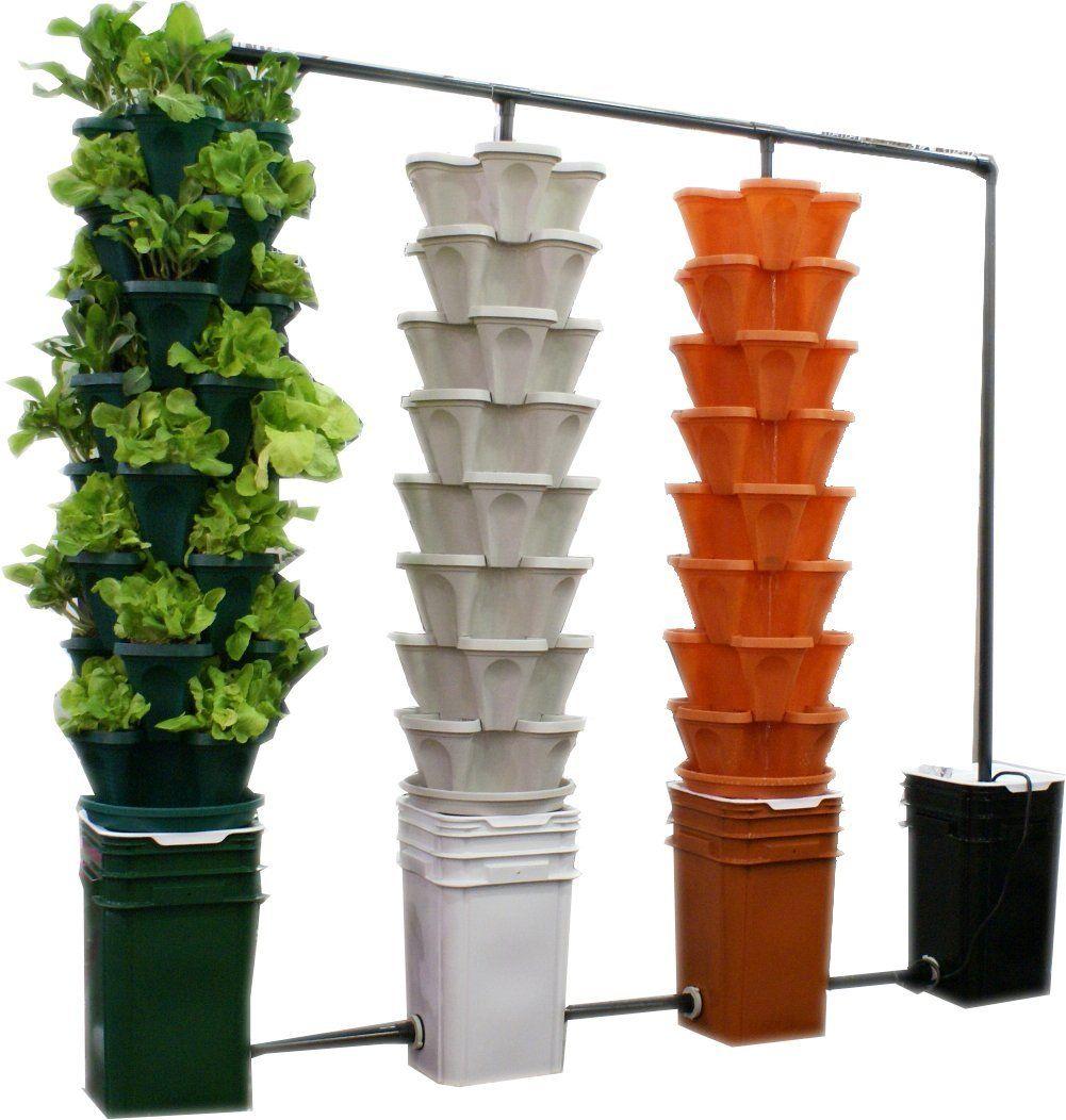 large 5 tier vertical garden tower 5 black stackable indoor outdoor hydroponic. Black Bedroom Furniture Sets. Home Design Ideas