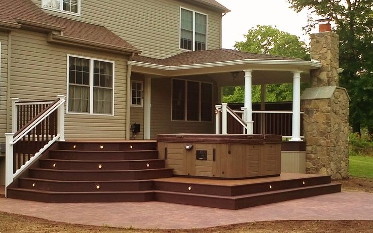 trex and cement deck | Trex Deck, Roof, Fireplace, Hot Tub, and ...