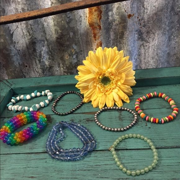 7 Colorful stretch bracelet bundle 7 colorful stretch bracelet bundle for a great price. Bracelets has been gently worn and in good condition. Thanks for looking. ❤️❤️❤️ Jewelry Bracelets