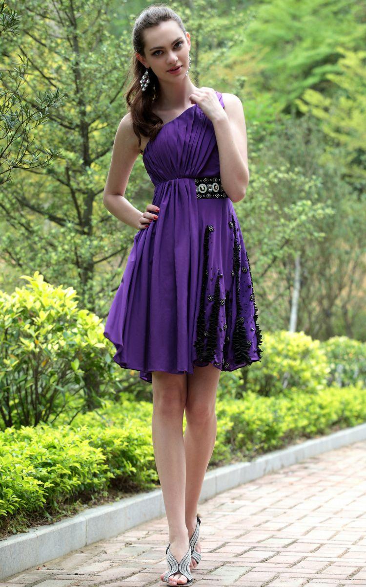 One Shoulder Purple Short Formal Dresses