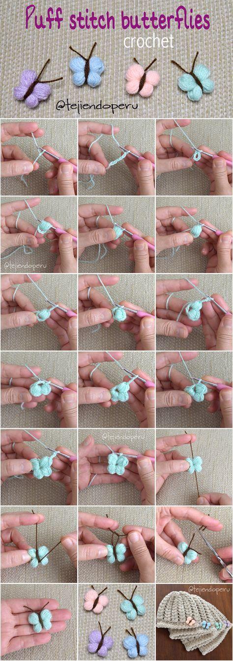 Häkeln: Schmetterlinge mit Puffstichen! Schön und einfach :) - Diy Hakeln #crochetflowers