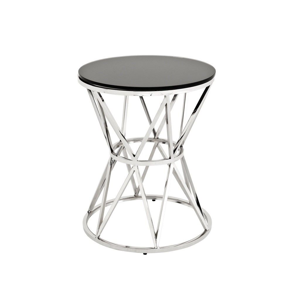 Best Round Metal Side Table With Luxury Black Glass Top From 400 x 300