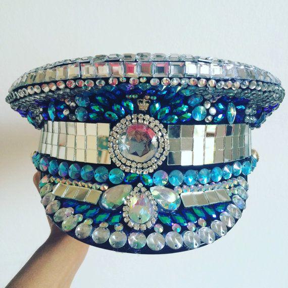de70b6d74d0 Super Blinging Military Captains hat for Festivals by HatsByDahlia ...