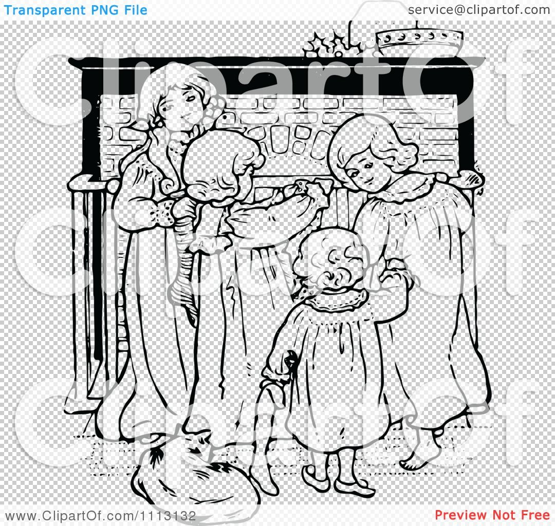 Astounding Clipart Vintage Black And White Christmas Children By A Home Interior And Landscaping Palasignezvosmurscom