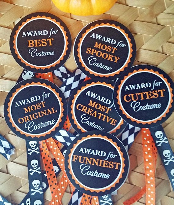 halloween costume award circles printable instant download candy