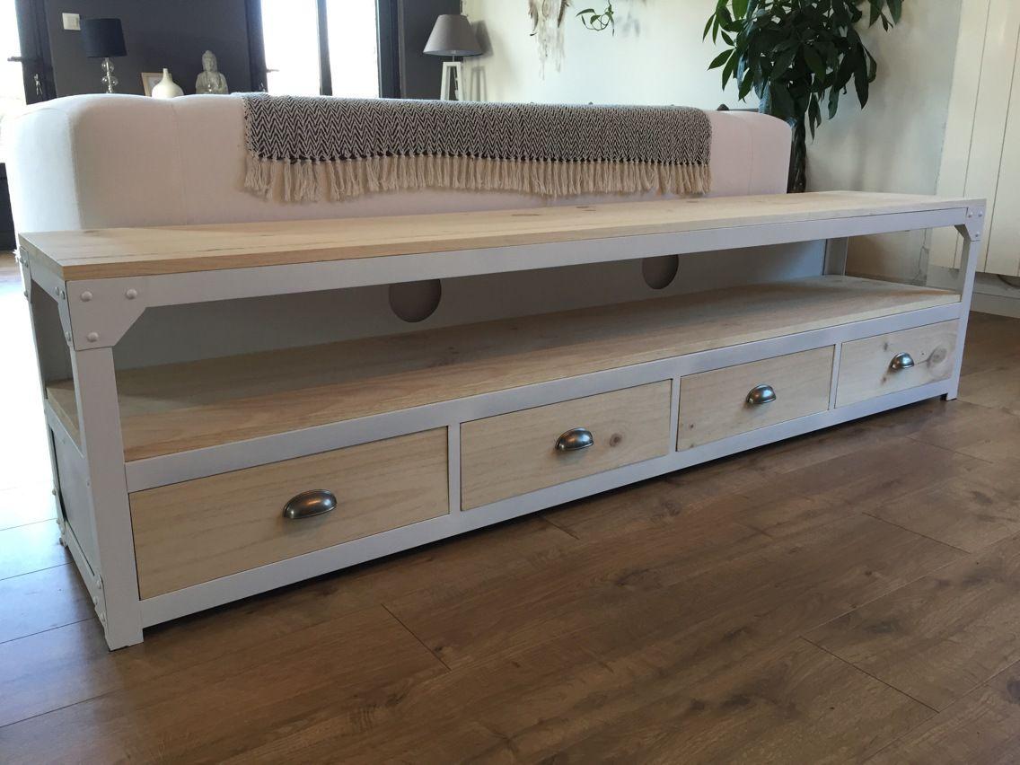meuble tv acier blanc et bois 4 tiroirs meuble tv tiroir et tv. Black Bedroom Furniture Sets. Home Design Ideas