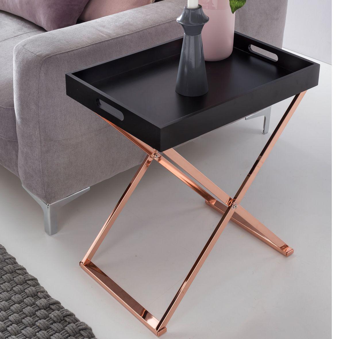 Wohnling beistelltisch tv tray schwarz aus mdf mit for Dekoration wohnzimmer kupfer