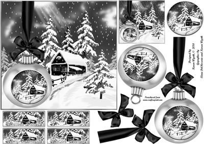 Black and White Christmas Bauble Scene on Craftsuprint - Add To Basket!