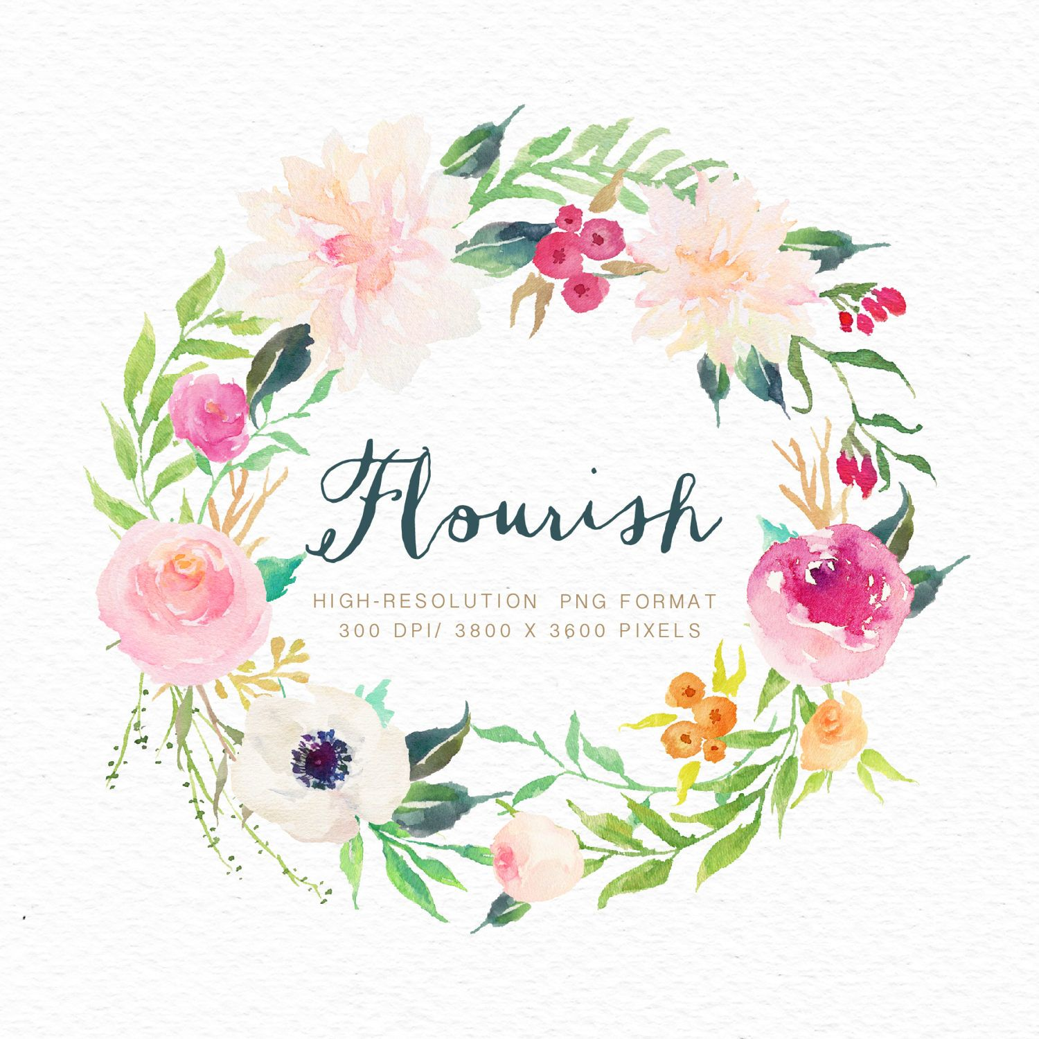 Watercolor Flower Wreath Flourish Small Set Individual Png Files